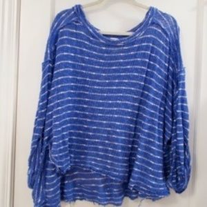Blue and White Free People sweater